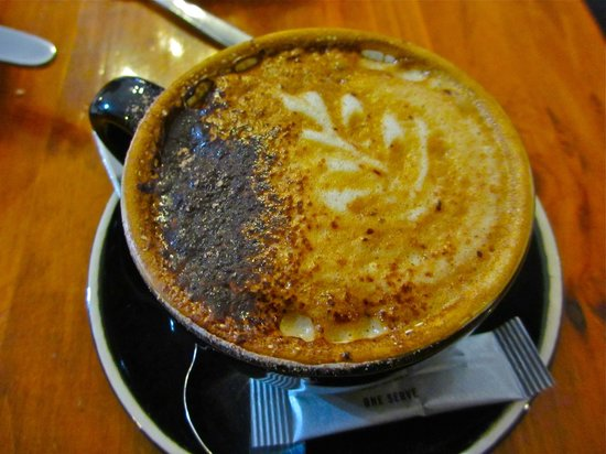 Pie In the Sky: Nice hot cappucino on a cool rainny day at 14 deg Celcius.