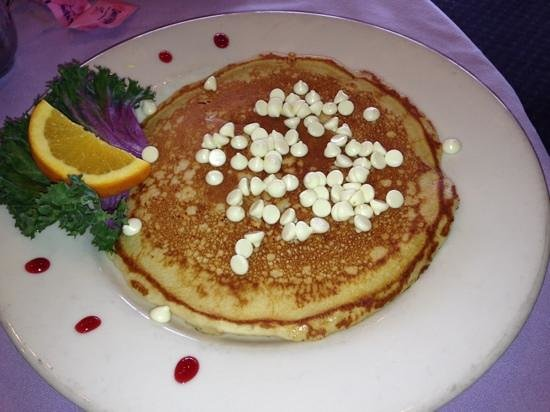 Caroline's Dining on the River: white chocolate pancake was the best!