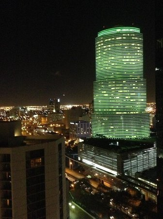 Kimpton EPIC Hotel: View from the club level balcony at night.