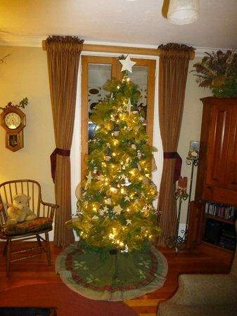 Historic Davy House B&B Inn: sitting room decorated for Christmas