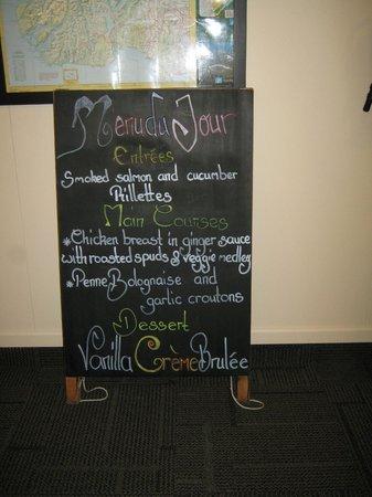 Milford Track: dinner menu