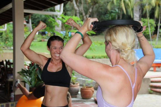 Peaks 'n Swells Surf Camp: surfer girl recharge session includes a fitness session to show you how to keep up the strength