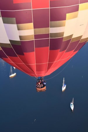 Above Reality Inc. Hot Air Balloon Rides: Looking down on a balloon drifting over Lake Champlain