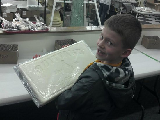 Cerreta Candy Co.: Will checks out the 10 pound slab of white chocolate