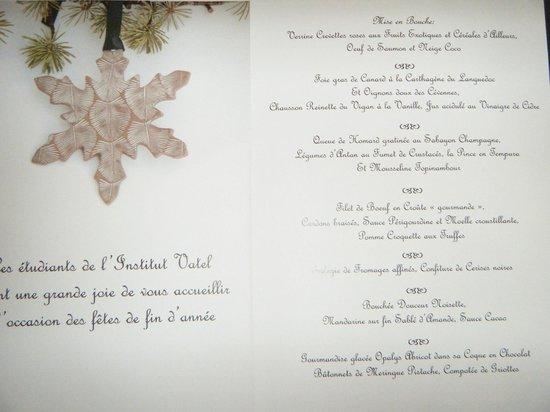 Brasserie Vatel : Menu du Déjeuner du nouvel An