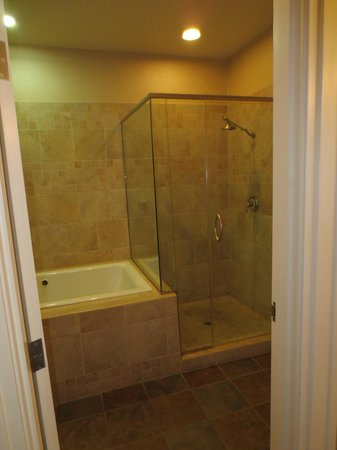Craddock Terry Hotel: Glassed-in shower and tub (Room 401)