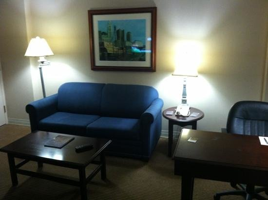 Sheraton Suites Columbus: Sofa bed & workspace
