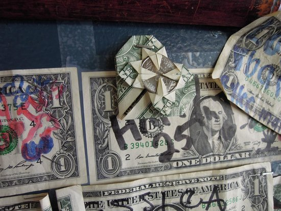 Breakers Restaurant : We left a Heart $1 we folded. Hopefull it's still there! Under the TV by the hostess...