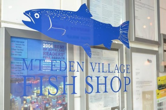 Mt. Eden Village Fish Shop: Sign on front door