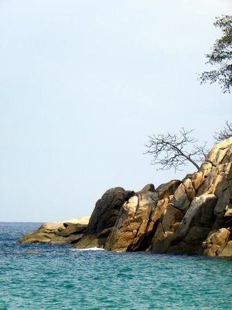 Majahuitas Resort: A corner of the cove as seen from the beach...