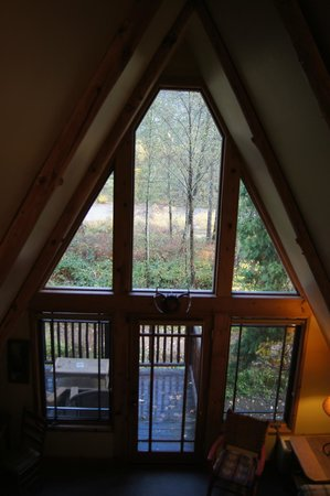 Weasku Inn: View from loft in A-Frame cabin