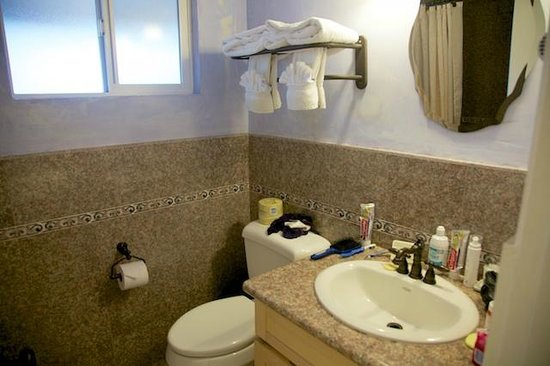 Clarion Collection Carmel By The Sea: Bathroom room upgraded with real granite tiles and counter.