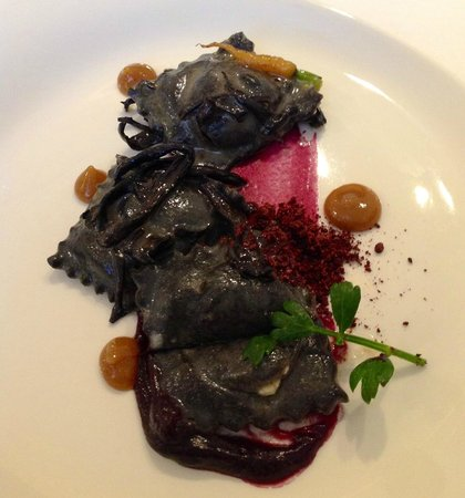 Volt: Goat Cheese stuffed ravioli with cocoa nibs, maitake mushrooms ($55.00 tasting menu)