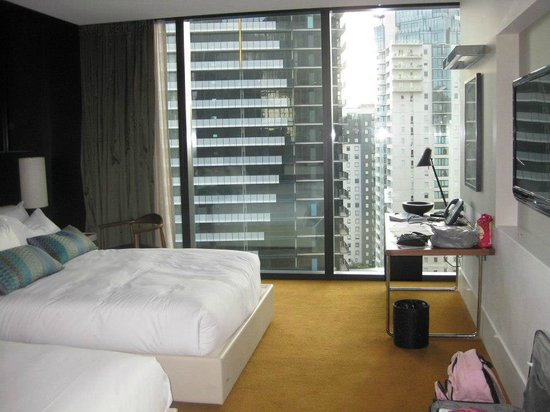 Crown Metropol Melbourne: Our luxe twin room with the curtain nearly all open