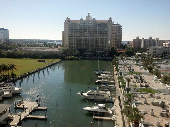 The Ritz-Carlton, Sarasota: view of the hotel facing south from the Hyatt across the small harbor