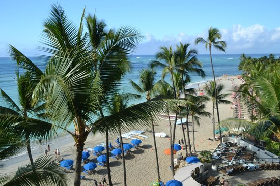 Outrigger Waikiki Beach Resort: View from the lanai. 4th floor.