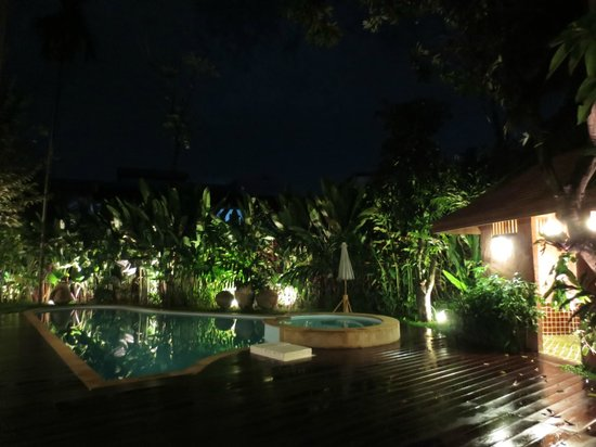Ruen Come In: View of pool at night