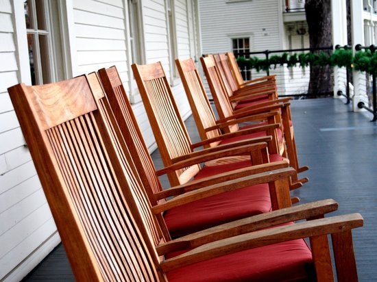 Cavallo Point: Rocking chairs on porch of main building