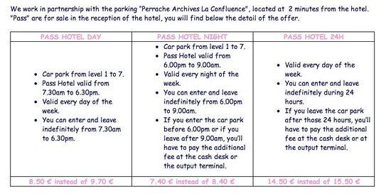 Hotel Central : car parking price list