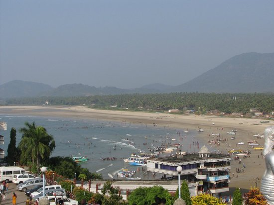 View from the Shiva statue - The RNS Residency, Naveen Restaurant by Sea Side.