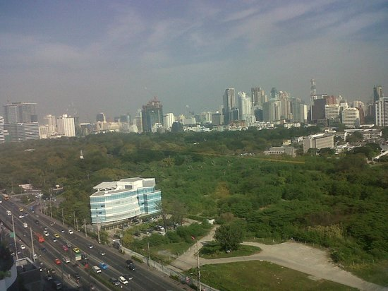 The AETAS lumpini: Lumpini Park and Bangkok skyline, seen from my room