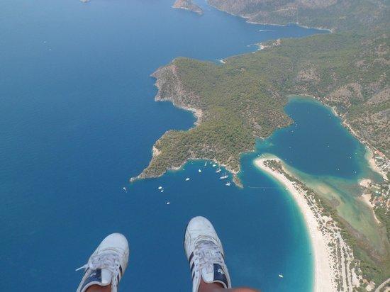 Perdikia Beach: view while paragliding over the lagoon
