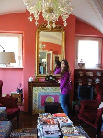 Villa Zuccari: Sala con camino e libri