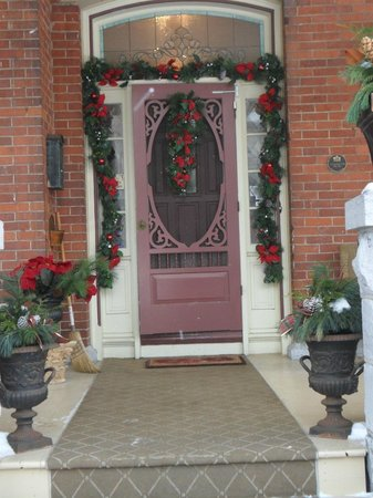 Secret Garden Bed & Breakfast Inn: The front door all decorated for Christmas