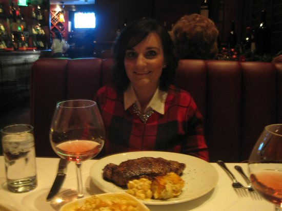 Fleming's Prime Steakhouse & Wine Bar: My beautiful wife , with the New York Strip