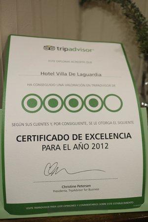Sercotel Villa de Laguardia Hotel: TA 2012 Certificate