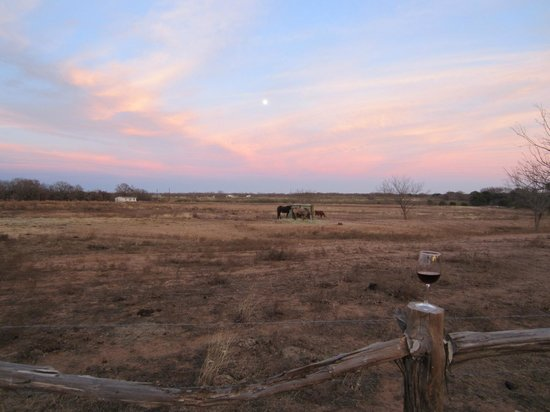 Spotted Pony Ranch: Good wine and a beautiful sunset.