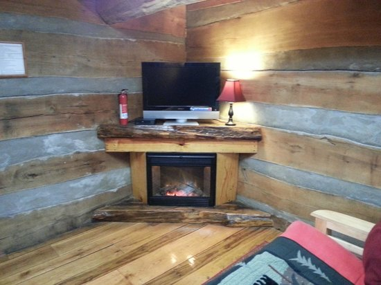 scenic veiw log cabins: Interior Skyy's Cabin Entertainment and Simulated Fireplace