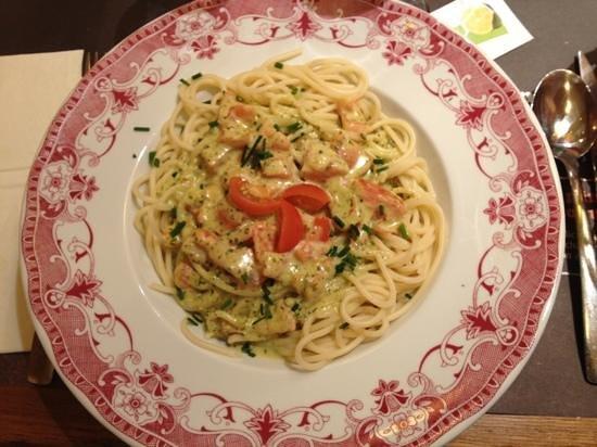 Tablapizza : spaghettis sauce pesto, miam