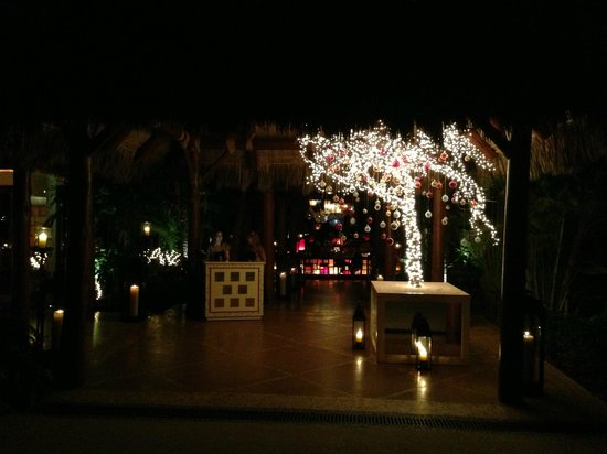 One & Only Palmilla: Entrance to Agua/Agua Bar with holiday tree