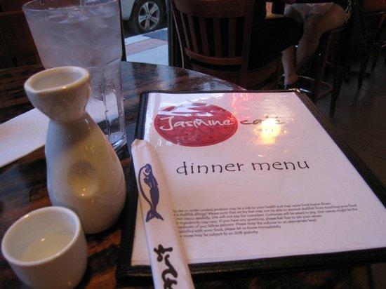 Jasmine Cafe & Lounge: Menu with hot sake