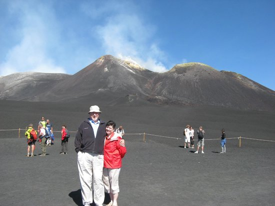 Tour of Sicily - Day Tours: April and I in front of Mt. Etna.