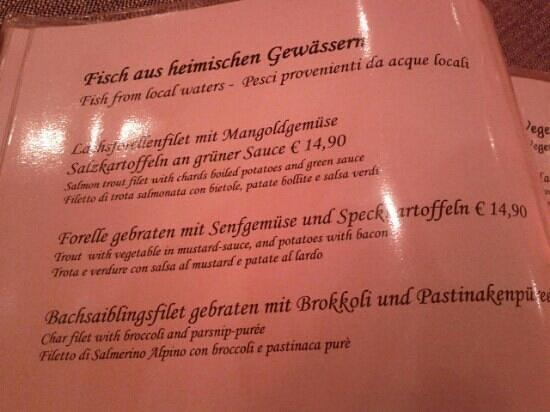 Restaurant Aquila: menu pagina del pesce