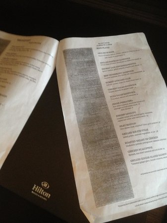 Hilton Newark Airport: The classy room service menu.