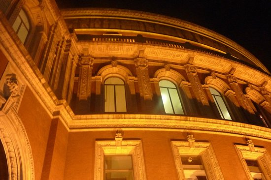Royal Albert Hall: building lit up at night to show the detail