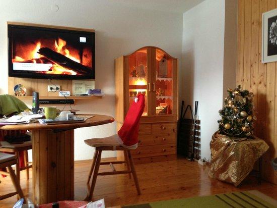 Living/Dining Room w/ the yule log TV