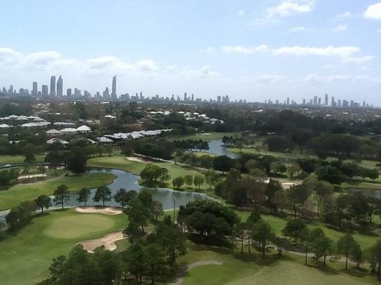 RACV Royal Pines Resort: view from our spa suite window 19th floor