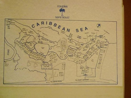 Couples Sans Souci: A map of the property from the in-room folder.