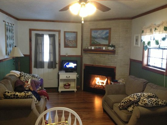 Patoka 4 Seasons Resort: Relaxing with old movies, wine and a fireplace