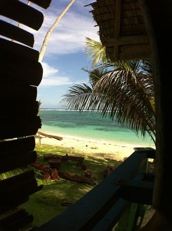 White Sands Paradise Beach Resort: view from bar, closed after storm