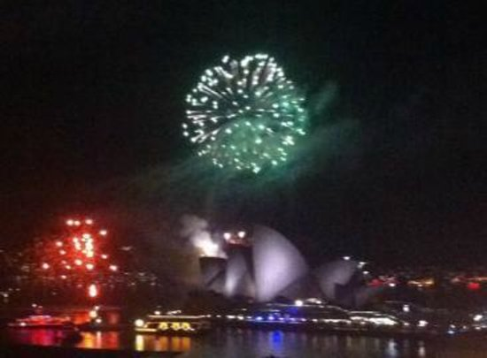 Sydney Harbour YHA: View of the fireworks from the rooftop terrace party.