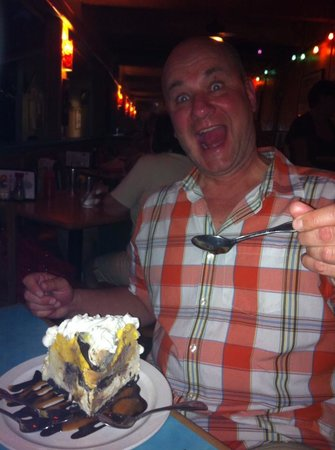 Betty's Beach Cafe: My dad and his decadent mudpie.