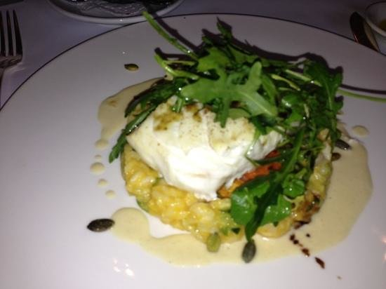 Brasserie Keyzer: halibut on pumpkin risotto