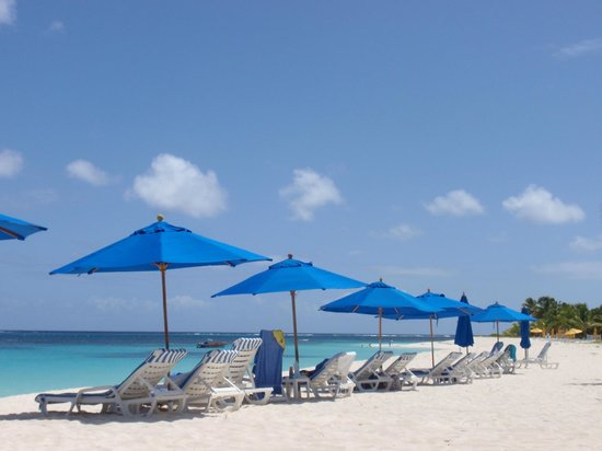 Shoal Bay Villas: the beach with the sunshades
