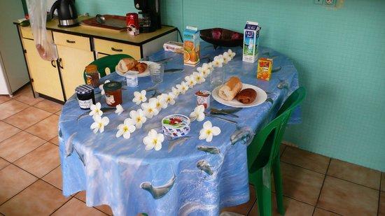 Otaha Lodge : Breakfast in the kitchen