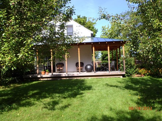 On the Creek Bed & Breakfast: back of the house with porch where breakfast was served